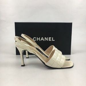 Chanel 2000 White Leather Quilted Slingback Heels
